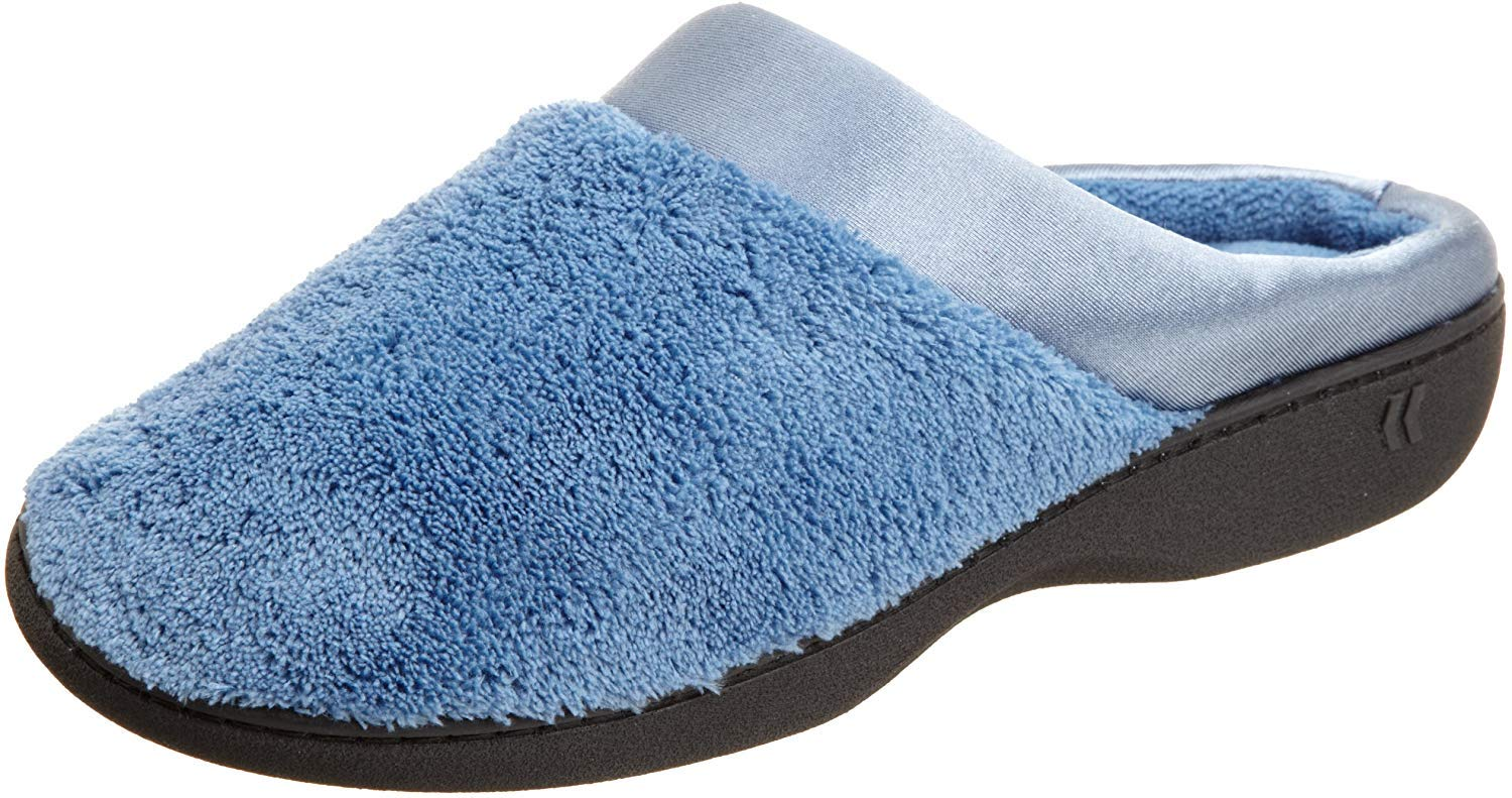 Isotoner Womens Microterry Pillowstep Satin Cuff Clog Denim Small 6.5-7