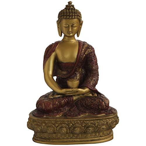 Meditating Nepali Buddha Statue, Red and Gold, 11.75 Inches