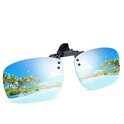3a934e0846 Image Unavailable. Image not available for. Color  Besgoods Cool Silver  Mirror Polarized Clip-on Flip up Sunglasses Plastic Lenses Glasses Outdoor  Driving
