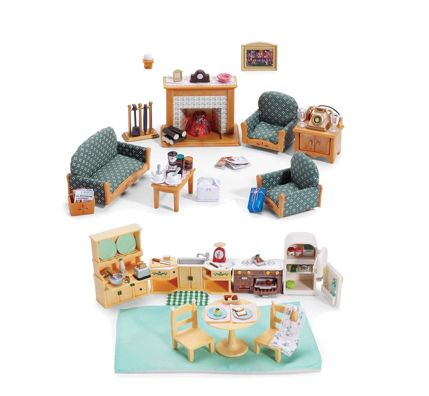 Amazon.com: Calico Critters Kozy Kitchen and Deluxe Living Room Play ...