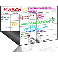 "Monthly Magnetic Dry Erase Board Calendar 2019, 15.8"" x 11.8"" - Your Best Month Goal Setting Planner - Fridge Magnetic Calendar Pad with Stain-Resistant Technology, Refrigerator Marker Board for Smart Planners, Whiteboard Organizer for Home, Office, School"