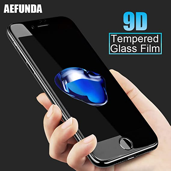 finest selection cd17a 2376b 9D Curved Edge Tempered Glass for iphone X 10 7 8 plus Screen Protector For  iPhone Glass Full Cover Protective Film (Black, For iPhone X)