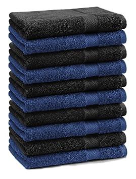 BETZ Paquete de 10 piezas de toallas para invitados Juego de toalla de lavabo 100% algodón tamaño 30x50 cm toalla de mano PREMIUM de color azul marino y ...
