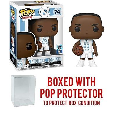 Michael Jordan North Carolina Tar Heels White (Away) Jersey #74 Pop Sports Action Figure (Bundled with Ecotek Pop Protector to Protect Display Box): Toys & Games