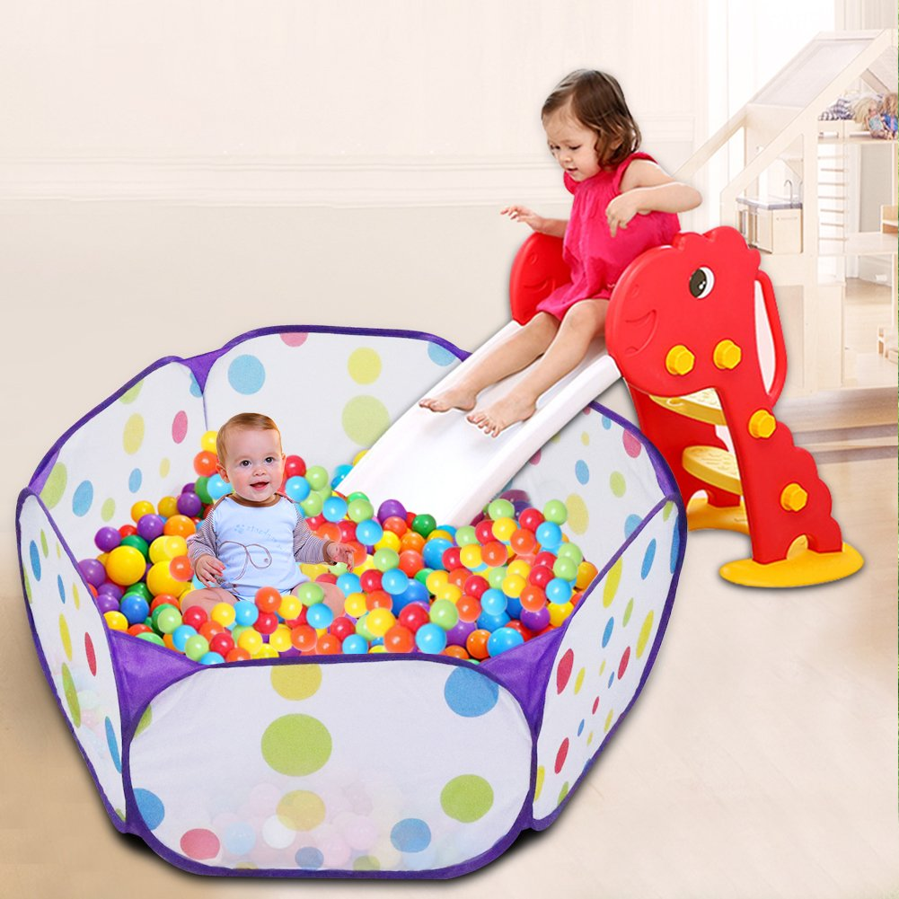 Kids Ball Pit, Karida Large Pop Up Toddler Ball Pits Tent for Toddlers, Children for Indoor Outdoor Baby Ball Pool Playpen with Zipper Storage Bag, Balls Not Included (Purple) by Karida (Image #2)