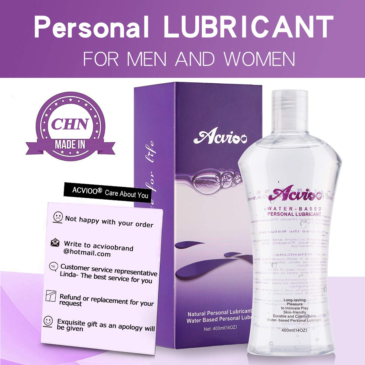 ACVIOO Water-Based Personal Lubricant, Super Slick Long Lasting, Natural Wet Lube for Women, Lovers &Couples(14OZ, Discreet Package)