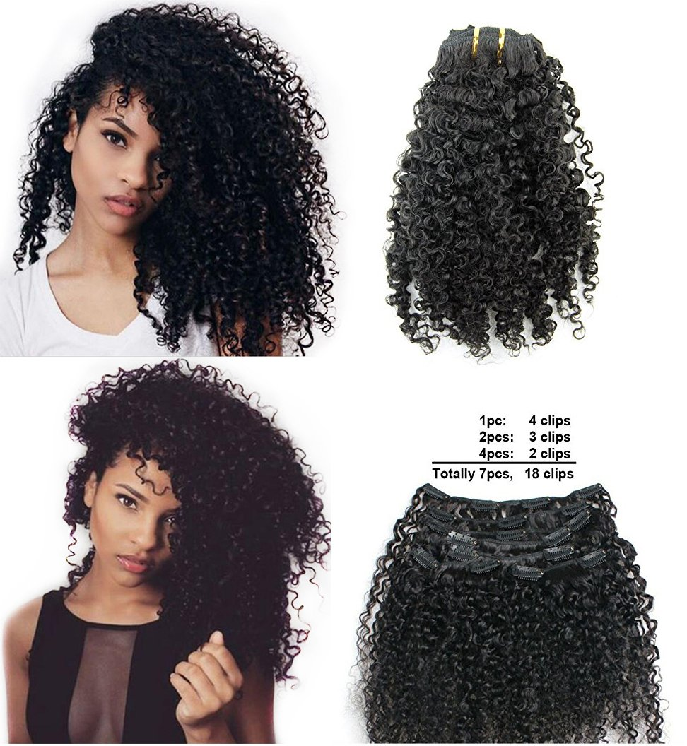 Ms Fenda Brazilian Remy Virgin Hair Kinky Curly 3B 3C Natural Color African American Clip In Hair Extensions 120Gram 7Pcs/Set(24'')
