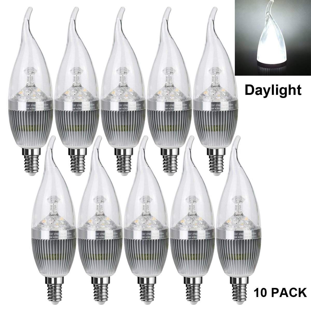 LED Candle Bulbs 25 Watt Light Bulbs Equivalent Incandescent,Non-dimmable,270 Lumens LED Lights Daylight White 5500K Baomao LED Candelabra Bulb Sliver 10 Pack,Flame Tip Chandelier Base E12 3W
