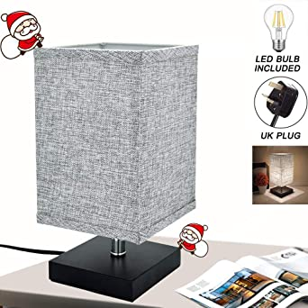 Kakanuo Minimalist Square Black Base Nightstand Lamp with Fabric Shade Bedside Table Desk Lamp Perfect for Bedroom//Nightstand//Guest Room//Living Room//Office