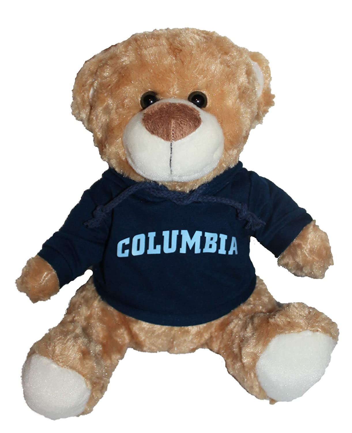 White Mascot Factory Columbia University Lions Teddy Bear with Blue Hoodie Sweatshirt 9 Inches Tall
