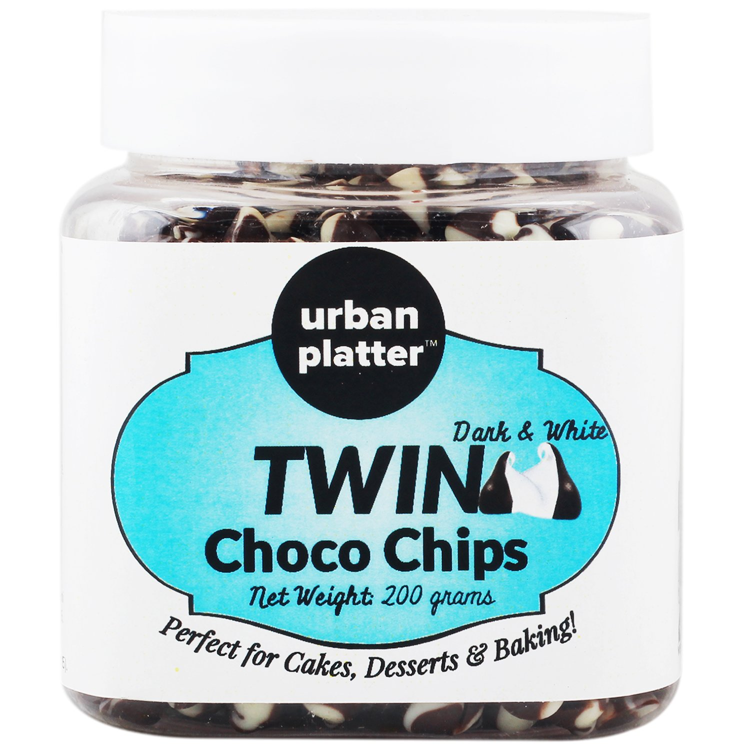 Urban Platter 1 Dark & White Twin Choco Chips, 200G by Urban Platter