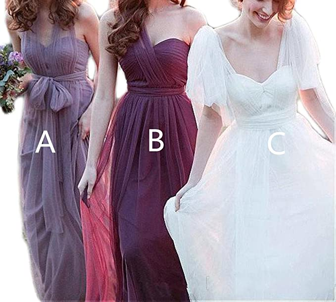 shop for reliable quality official store Veilace Women's Long Tulle Convertible Bridesmaid Dress A ...
