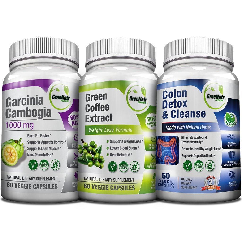 Weight Loss Trio - Green Coffee Bean w/ 50% Chlorogenic Acid + Garcinia Cambogia Extract & Colon Detox | 14 Day Diet Plan & Cleanser - Appetite Suppressant, Sugar & Fat Burner, Carb Blocker -180 Pills by GreeNatr