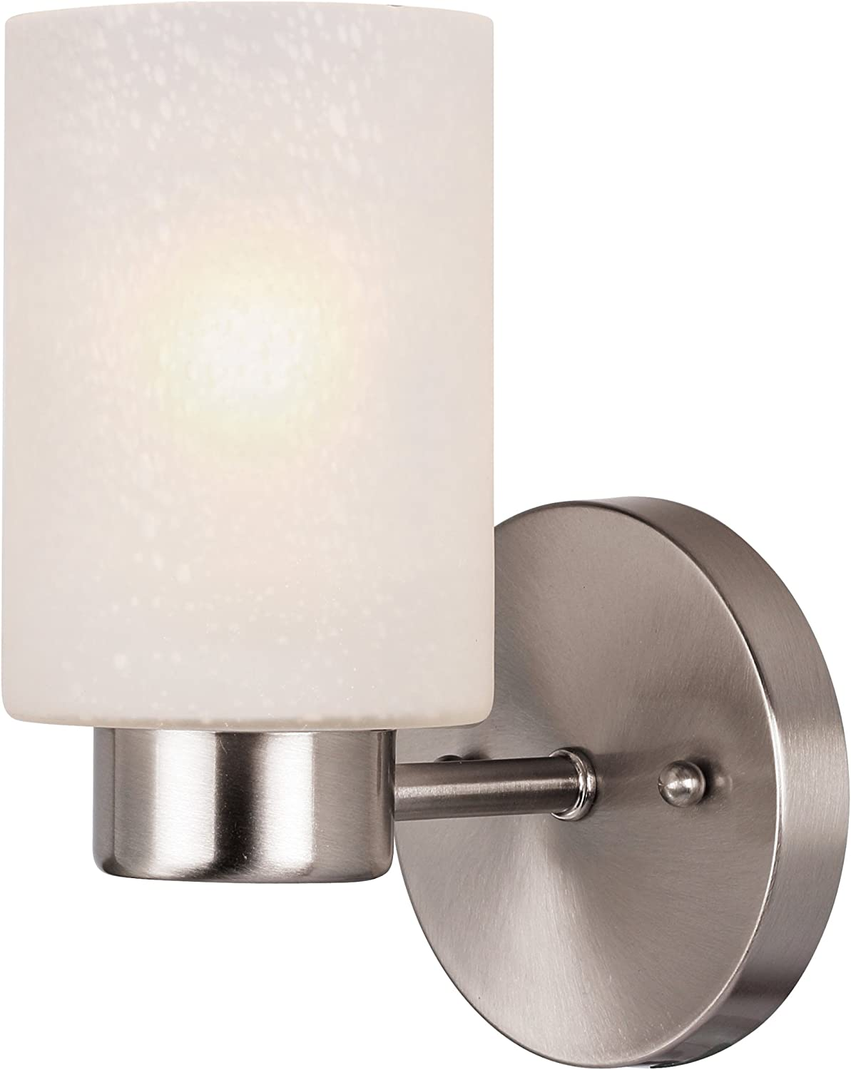 Westinghouse Lighting 6227800 Sylvestre Indoor Wall Fixture, Brushed Nickel Finish with Frosted Seeded Glass, 1, Bn One Light - Wall Sconces -