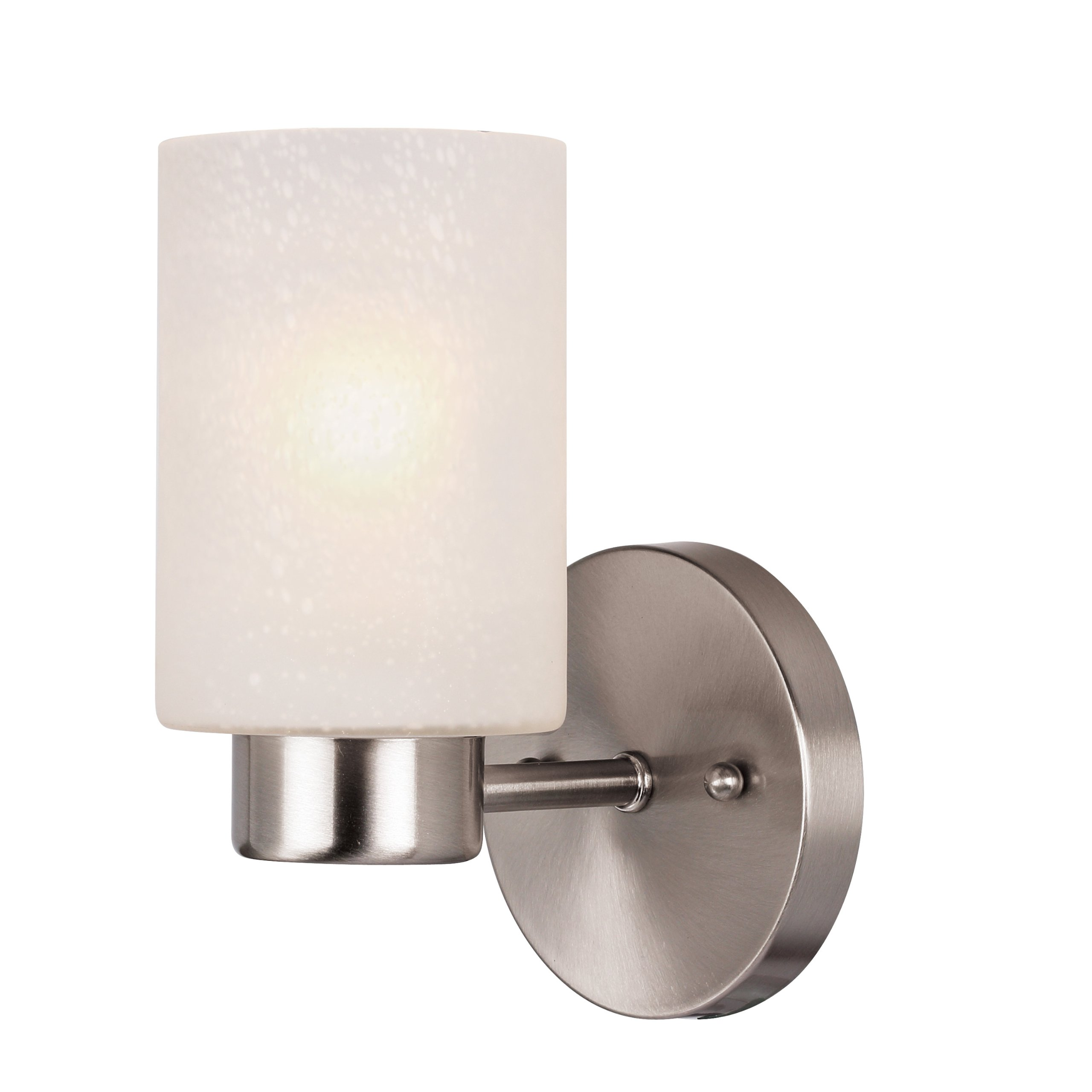 Westinghouse 6227800 Sylvestre One-Light Indoor Wall Fixture, Brushed Nickel Finish with Frosted Seeded Glass