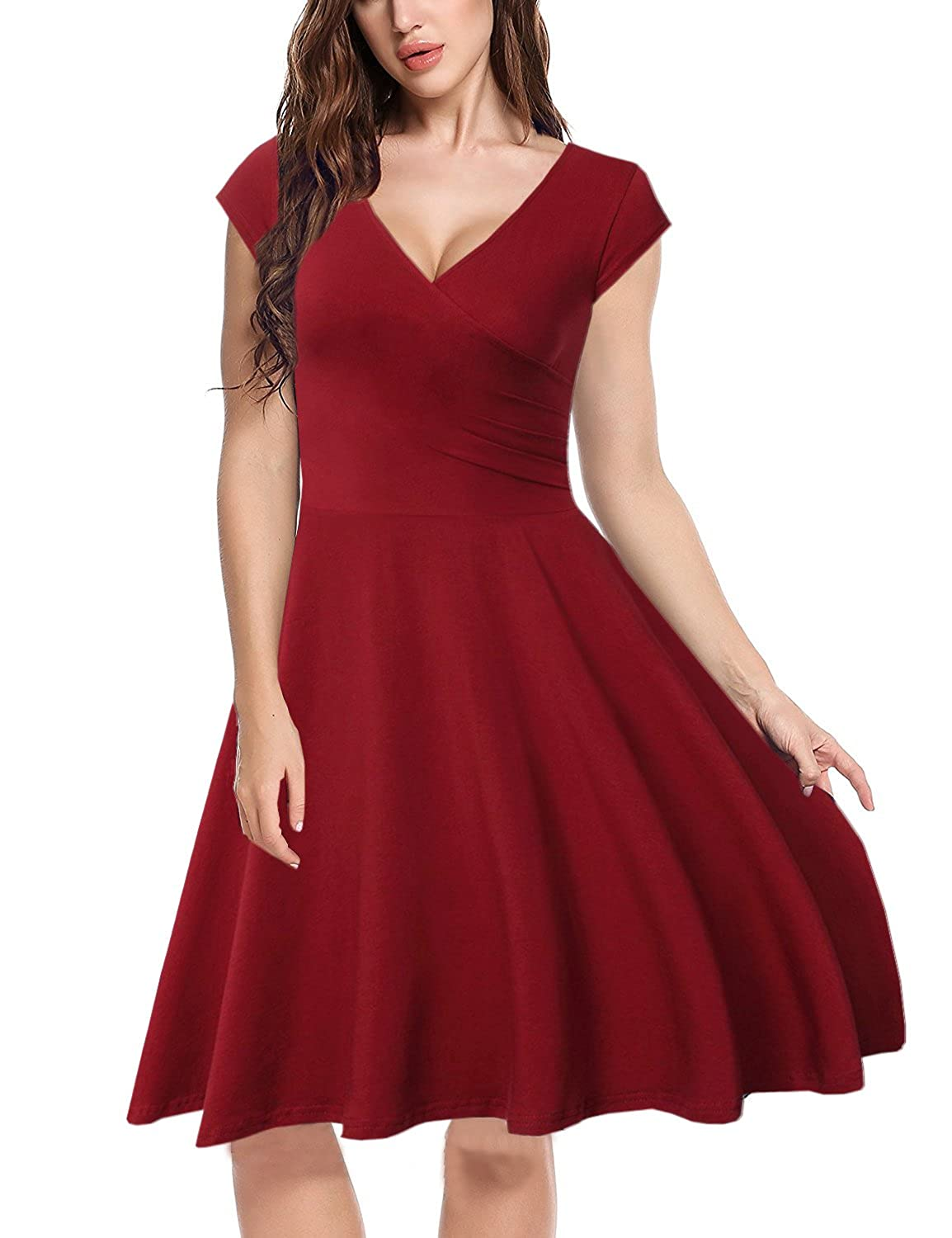 MERRYA Women's Vintage V-Neck Casual Wrap Cap Sleeve Party Swing Dress