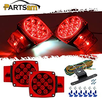 Red//White Stop Trailer Light Kit 12V Tail Turn Lights Truck Boat Under 80``