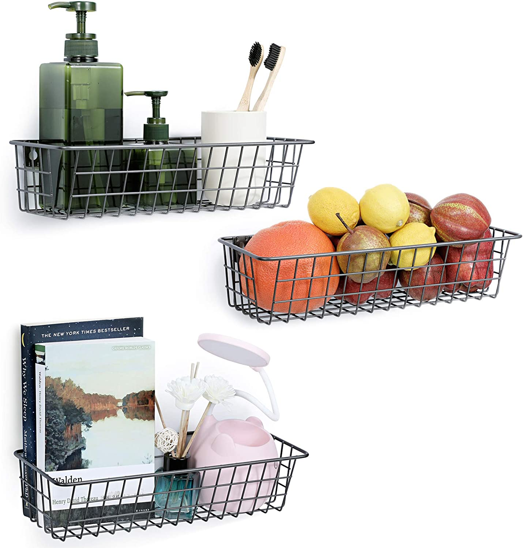 3 Set Hanging Wall Basket for Storage, Wall Mount Steel Wire Baskets, Metal Hang Cabinet Bin for Organizer, Rustic Farmhouse Decor, Kitchen Bathroom Accessories Organizer, Industrial Gray, Medium