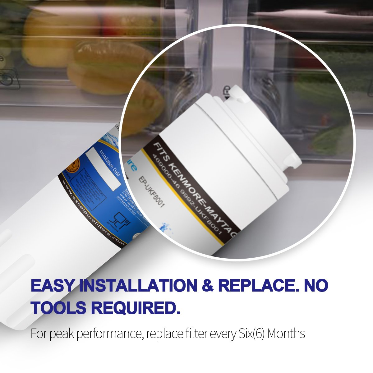 Excelpure Refrigerator Water Filter Replacement Cartridge for Maytag UKF8001, UKF-8001P, Kenmore 469006, 469992, Amana UKF8001AXX (2 PACK) by EXCELPURE (Image #4)