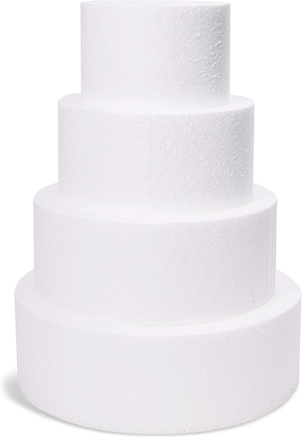 Juvale 4-Piece Round Foam Cake Dummy for Decorating and Wedding Display, 6, 8, 10, 12 Inches Diameter, Total 16 Inches Tall