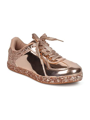 quality design e30d5 7adbb Alrisco Women Glitter Encrusted Holographic Lace Up Low Top Sneaker HF72 - Rose  Gold Metallic (