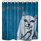 Amknu Middle Finger cat Cartoon Fashion Pattern Imported Polyester Waterproof Fabric Shower Curtain Durability 71x71 inches Easy to Clean 12 Plastic Hooks