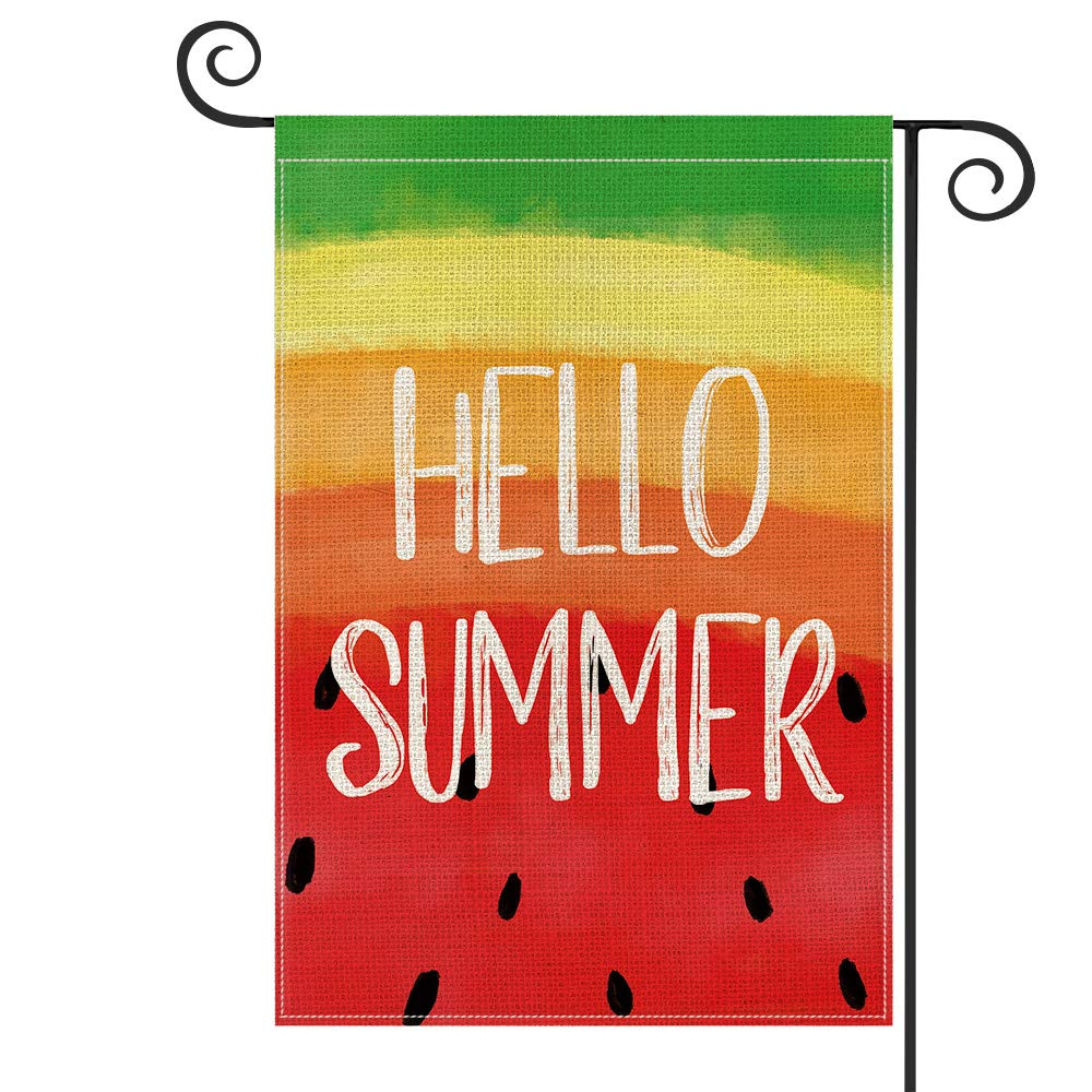 AVOIN Hello Summer Watermelon Garden Flag Vertical Double Sided, Holiday Party Yard Outdoor Decoration 12.5 x 18 Inch
