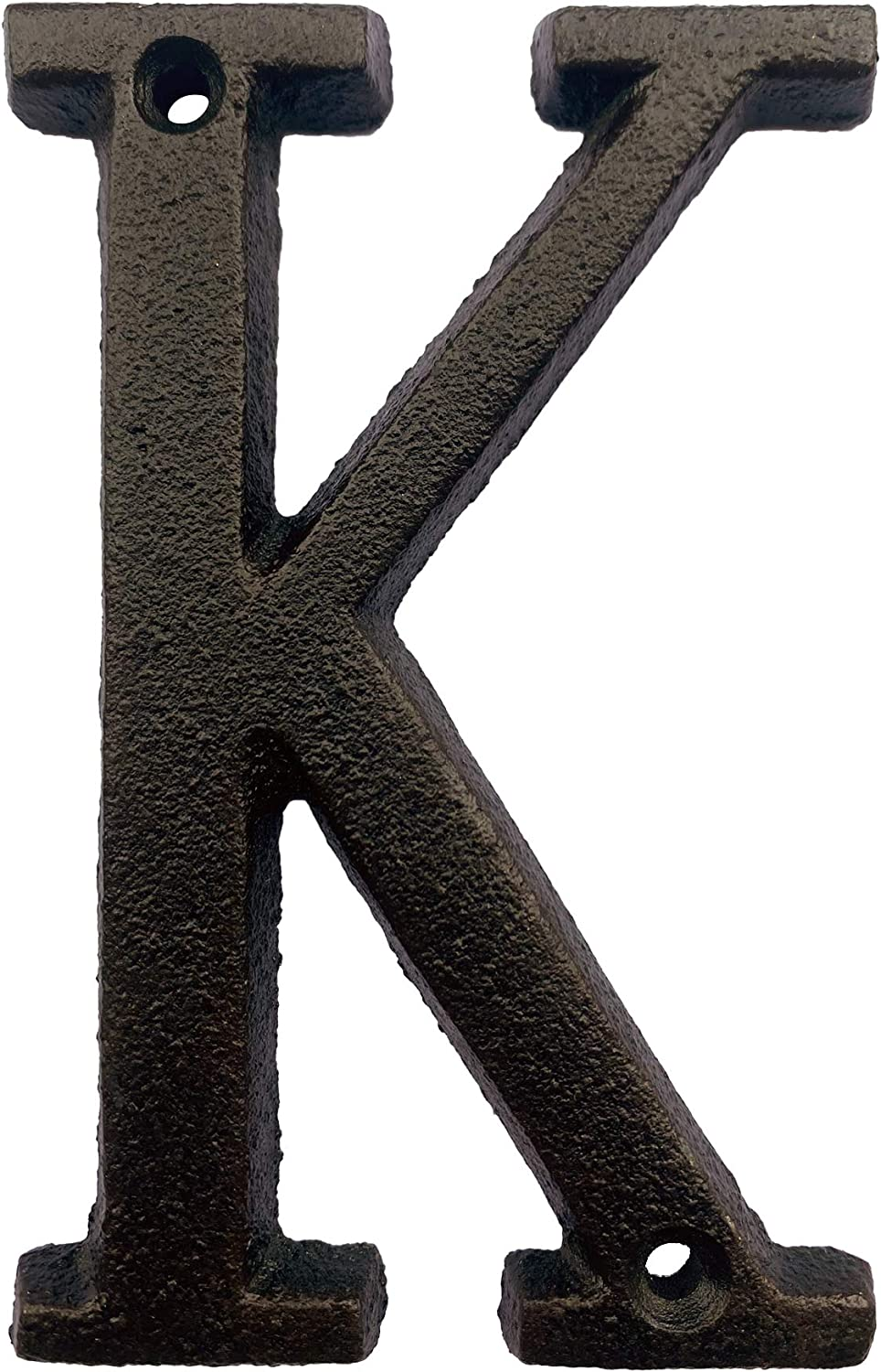 5.1 Inch High Cast Iron House Letter, Solid Home Address Letter, Elegant Black Brown Finished, Matching Perfect with 5.5 Inch House Numbers, Letter K
