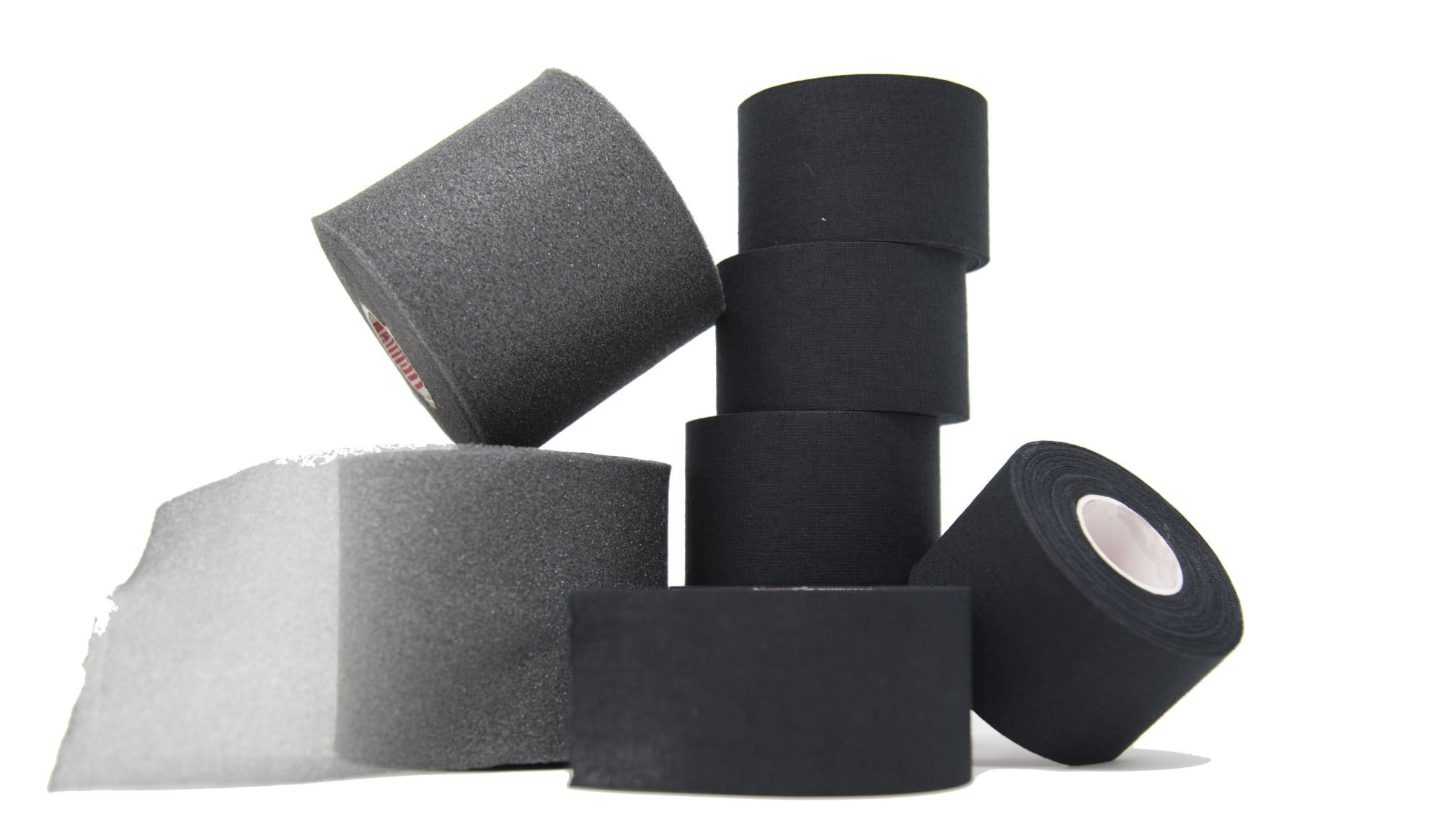 Athletic Tape and Pre Wrap Kit: – 6 Rolls of Black Athletic Tape 1.5'' x 10 yds & 2 Rolls of Pre Wrap - high quality, very strong, no residue, easy tear - save money with this bundle by Active Sports Essentials (ASE)