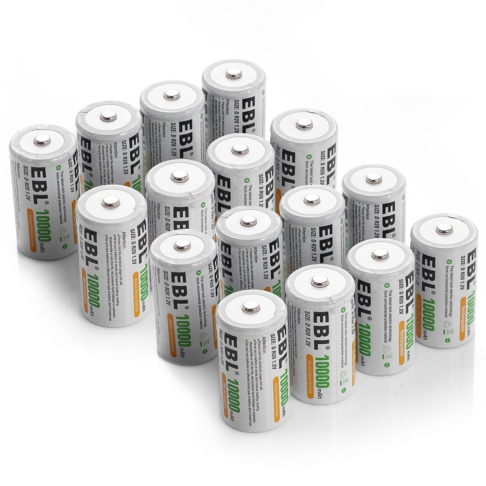 EBL D Battery Cells 10000mAh Rechargeable Batteries 16 Packs by EBL
