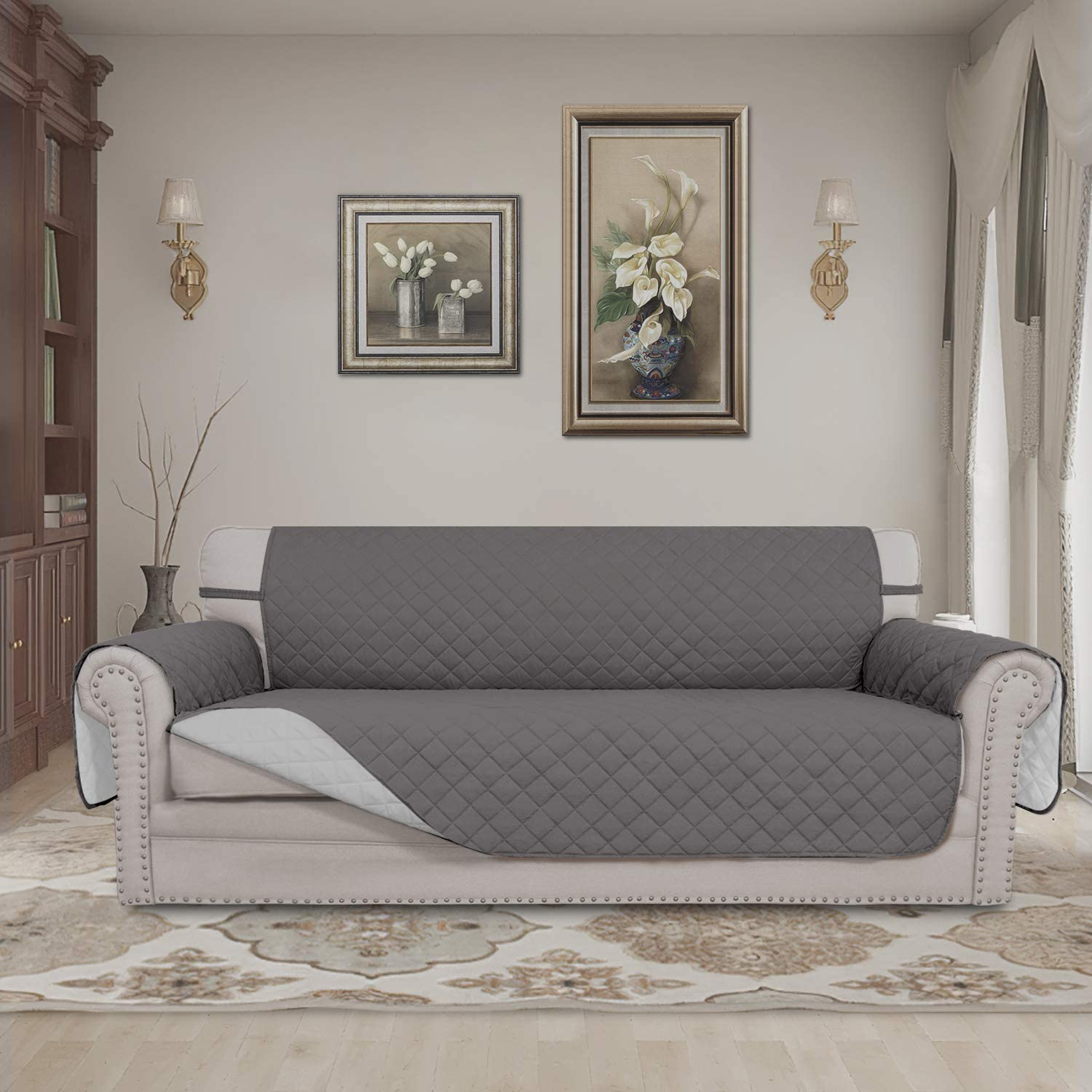Easy-Going Sofa Slipcover Reversible Sofa Cover Water Resistant Couch Cover Furniture Protector with Elastic Straps for Pets Kids Children Dog Cat(Sofa, Gray/Light Gray): Kitchen & Dining