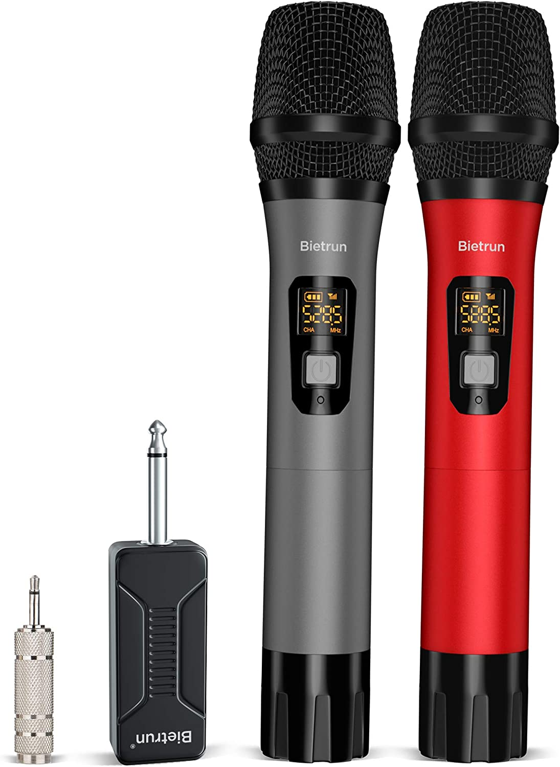 Amazon Com Wireless Microphone Uhf Wireless Dual Handheld Dynamic Mic System Set With Rechargeable Receiver 160ft Range 6 35mm 1 4 Plug For Karaoke Voice Amplifier Pa System Singing Machine Church Musical Instruments