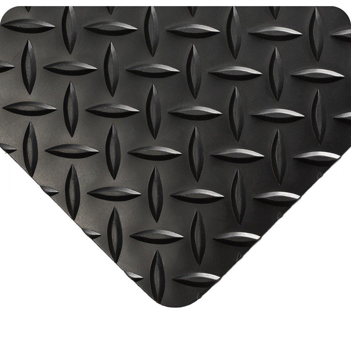 Wearwell 385.316x4x6BK Diamond-Plate Runner Mat, 6' Length x 4' Width x 3/16'' Thick, Black