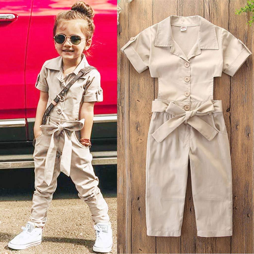 Womola Toddler Kids Baby Girl Clothes 2pcs Outfits Short Sleeve Backless Overalls Jumpsuit Set