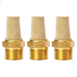 """Quickun Air Pneumatic Mufflers, 1/4"""" Male Thread Sintered Bronze Exhaust Muffler Silencer (Pack of 3)"""