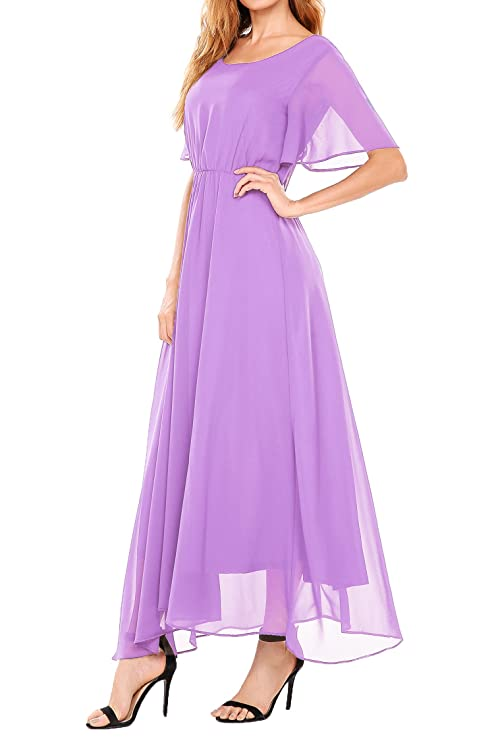 Beyove Womens Chiffon Short Sleeve O Neck Plus Size Flare Flowy Long Maxi Bridesmaid Formal Dress at Amazon Womens Clothing store: