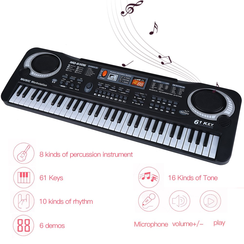Electronic Piano, 61-Key Electric Digital Keyboard Piano Portable Musical Instruments Toy with Microphone by lyrlody (Image #6)