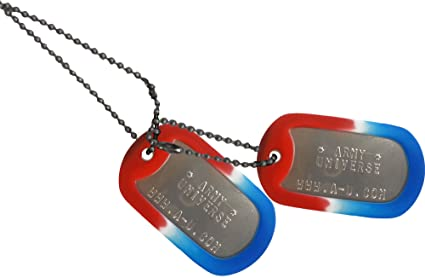 Army Universe Matte Custom Embossed Stainless Steel Military Style Dog Tag  Set - Red White   7ffc2949916