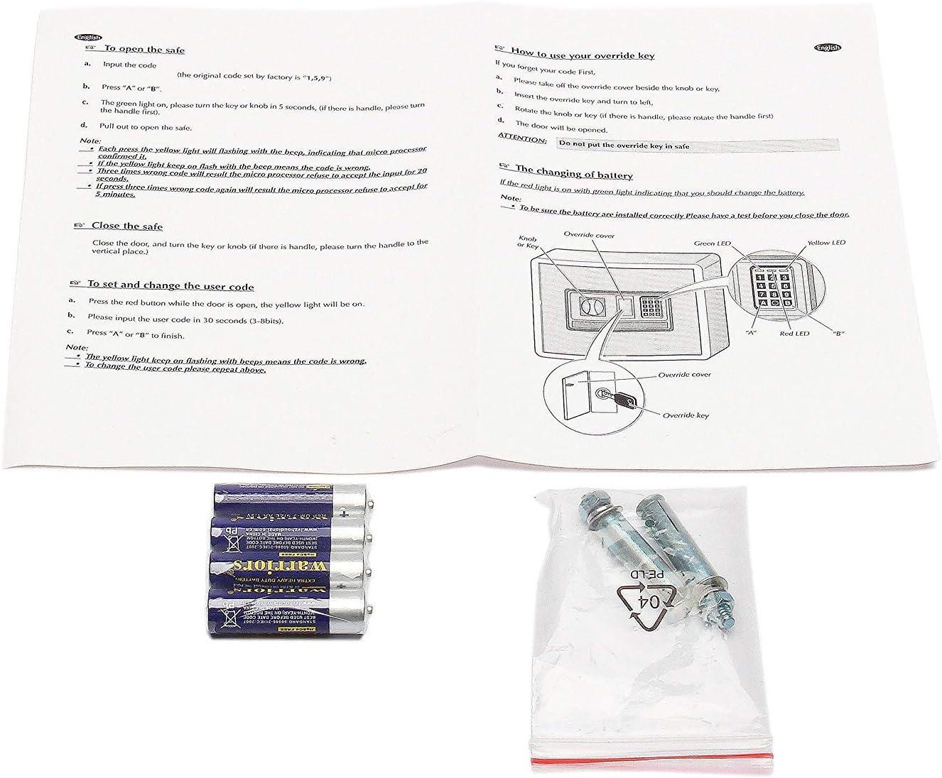 /Fonctionne avec 4/Piles AA incluses Fobuy Electronic tiroir Safe W//Full-Digit Keypad /& cl/és/ /Construction en Acier Solide et cach/é Mural//au Sol dancrage Motif/
