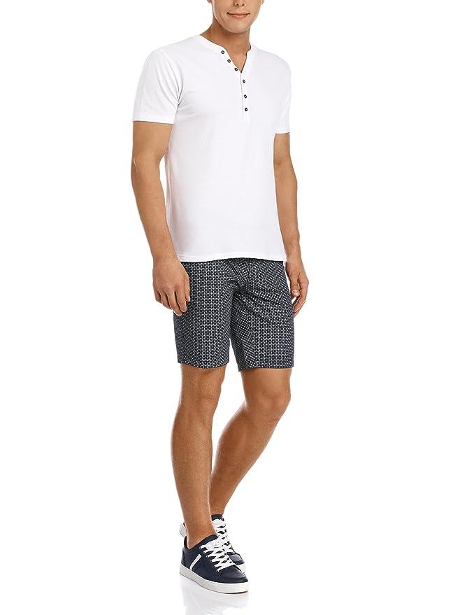 oodji Ultra Hombre Elegante Pantalón Corto Bermudas Estampadas Slim Fit de Algodón con Cinturón, Azul, ES 36 / XS: Amazon.es: Ropa y accesorios