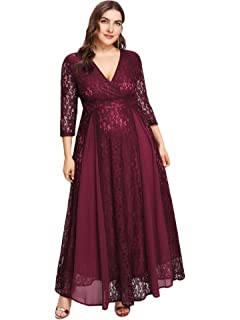 5f4a5cbbee ESPRLIA Women s Plus Size High Waist Lace Overlay Maxi Evening Dresses