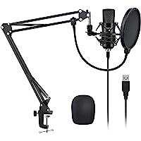 YOTTO USB Micrófono de condensador cardioide Micrófono para ordenador (192KHz/24bit Plug and Play) Profesional Micrófono…