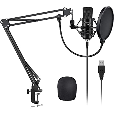 YOTTO USB Micrófono de condensador cardioide Micrófono para ordenador (192KHz/24bit Plug and Play) Profesional Micrófono podcast con soporte de micrófono Brazo de tijera, filtro pop