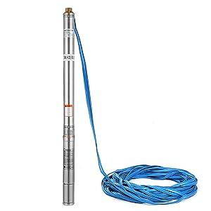 Autovictoria Bomba para Pozos 220V 550W 0.75HP Bomba de Agua Sumergible 95m 2700L / H Bomba de Pozos Profundos con el Cordón de 30m Deep Well Pump