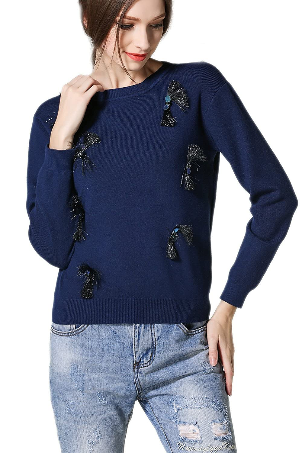 Women's Long Sleeve Pullover Casual Cargigan Sweater with Beads