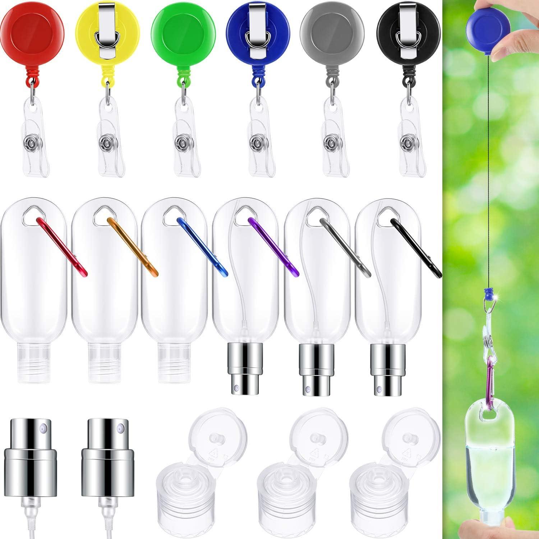 5 Tapas de Botellas de Spray y 6 Clips de Anilla en D de Escalada 6 Carrete de Insignia 6 Botellas de Llavero de Pl/ástico Botellas de Viaje Recargables Botellas Port/átiles de Desinfectante de Manos