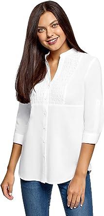 oodji Collection Mujer Camisa de Algodón con Cuello Mao, Blanco, ES 36 / XS: Amazon.es: Ropa y accesorios