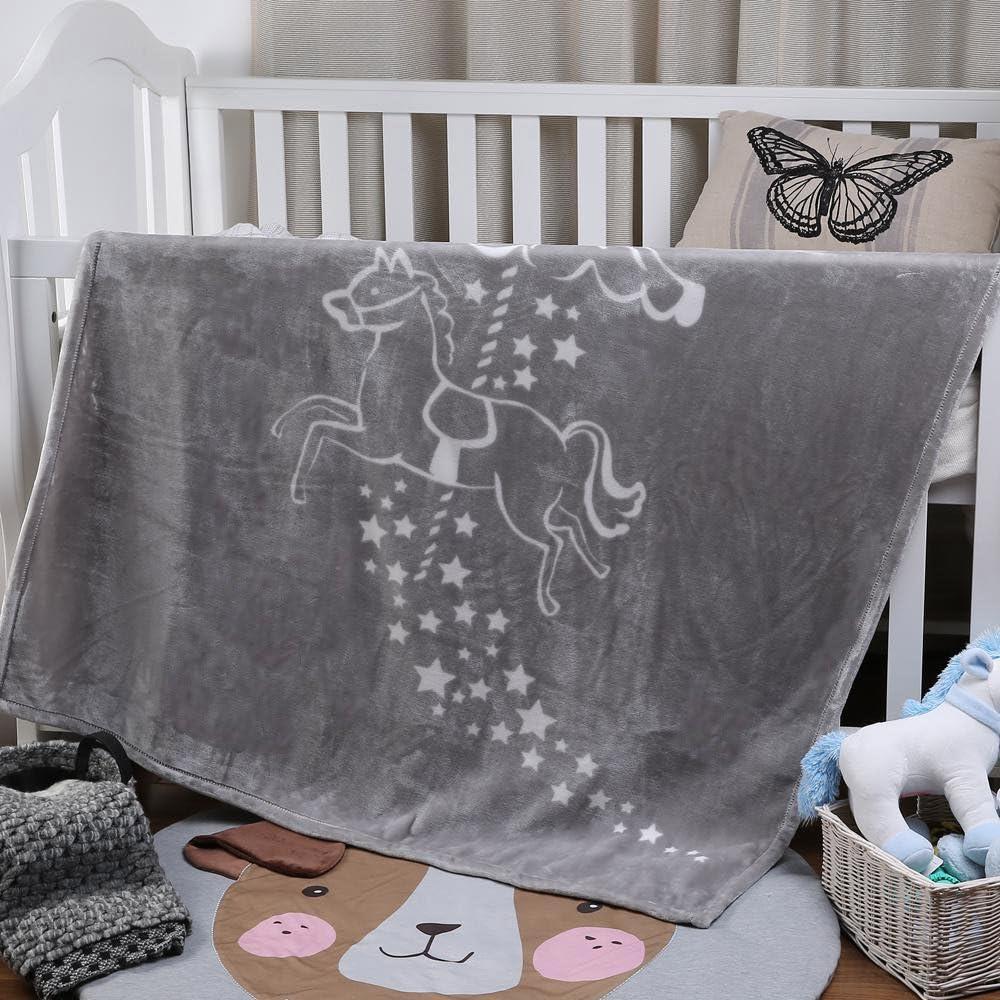 i-baby Manta Bebé Recién Nacido Mantas para Cuna Cama Infantil Mantas Infantiles 110 x 140 cm Manta Terciopelo Grande Gris Para Niños Niñas 4 Estaciones 1 a 6 años Tiovivo