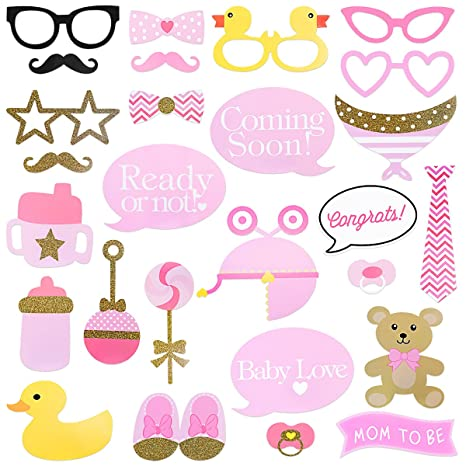 LUOEM Baby Shower Photo Props 29PCS Pink and Gold Girls Baby Shower Photo Booth Apoyos Es