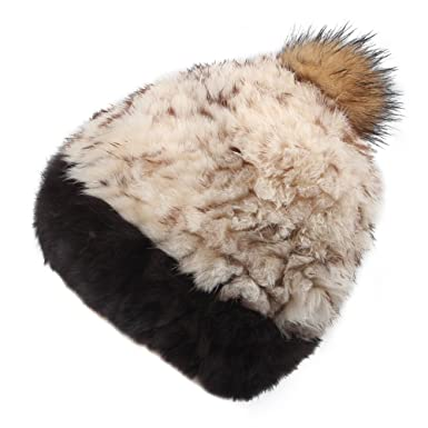 aeb5d80c1db97 FURTALK Women's Real Rabbit Fur Hat with Raccoon Fur Pom Pom Winter ...